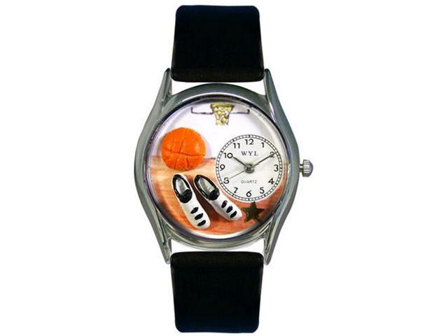 Basketball Black Leather And Silvertone Watch #S0820005
