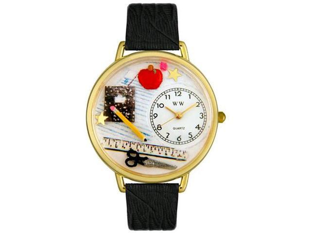 Teacher Black Skin Leather And Goldtone Watch #G0640001
