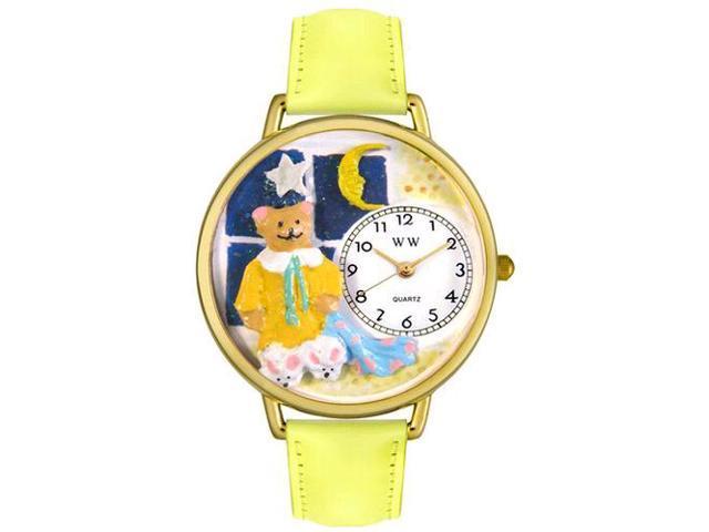 Night Night Teddy Bear Yellow Leather And Goldtone Watch #G0230006