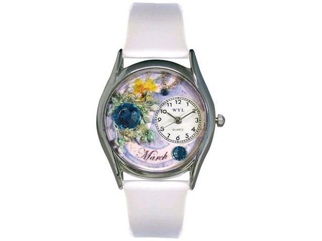 Birthstone: March White Leather And Silvertone Watch #S0910003