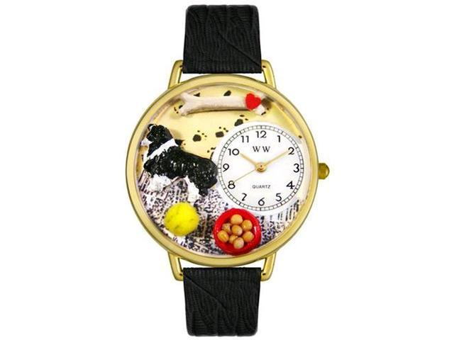 Border Collie Black Skin Leather And Goldtone Watch #G0130028