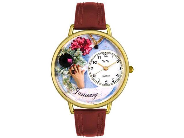 Birthstone: January Burgundy Leather And Goldtone Watch #G0910001