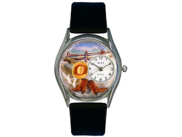 Ranch Black Leather And Silvertone Watch #S0110005