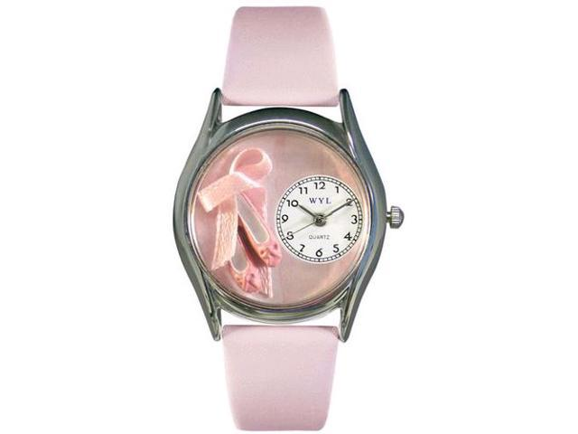 Ballet Shoes Pink Leather And Silvertone Watch #S0510005