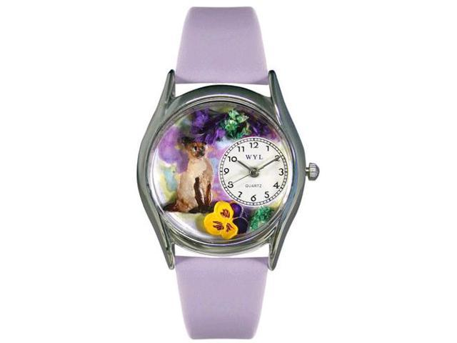 Siamese Cat Lavender Leather And Silvertone Watch #S0120004