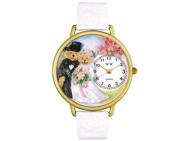 Teddy Bear Wedding White Leather And Goldtone Watch #G1340002