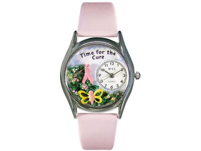 Time For The Cure Pink Leather And Silvertone Watch #S1110002