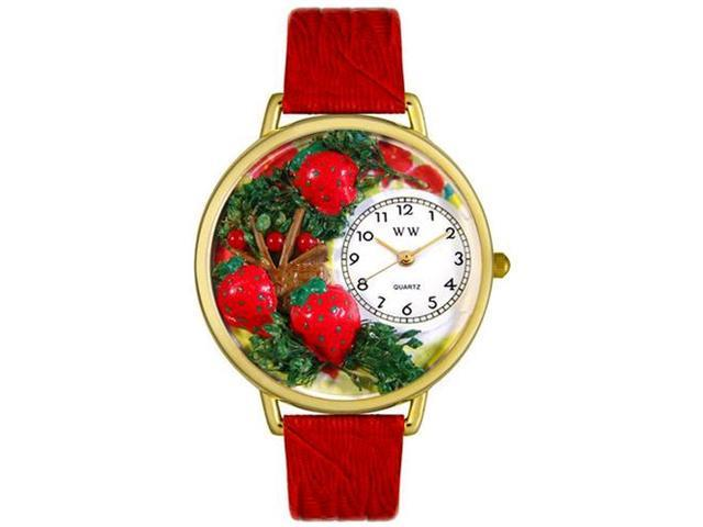 Strawberries Red Leather And Goldtone Watch #G1210006