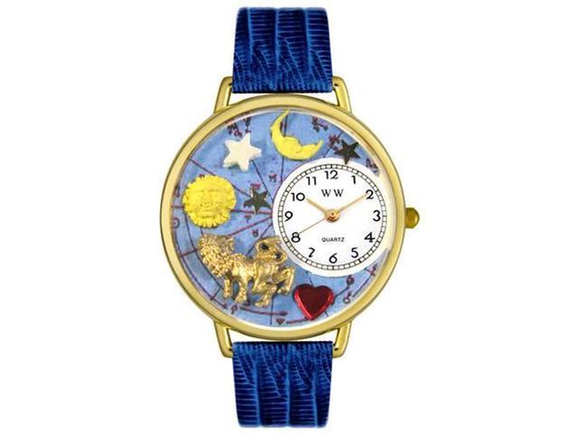 Leo Royal Blue Leather And Goldtone Watch #G1810007