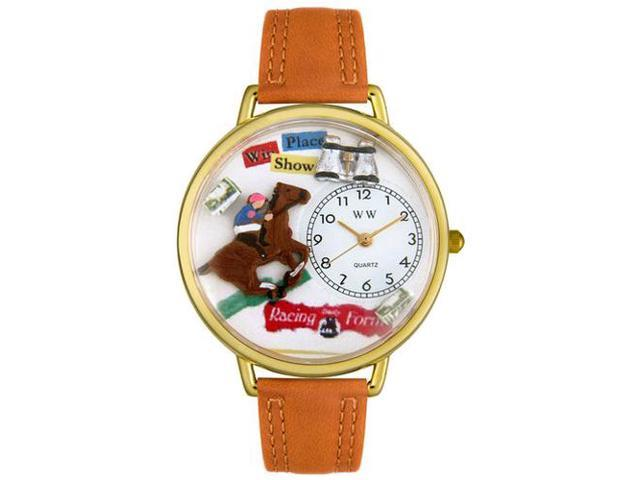Horse Racing Tan Leather And Goldtone Watch #G0810017