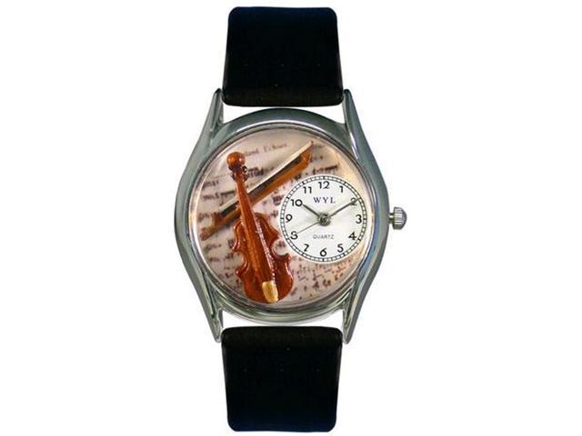 Violin Black Leather And Silvertone Watch #S0510002