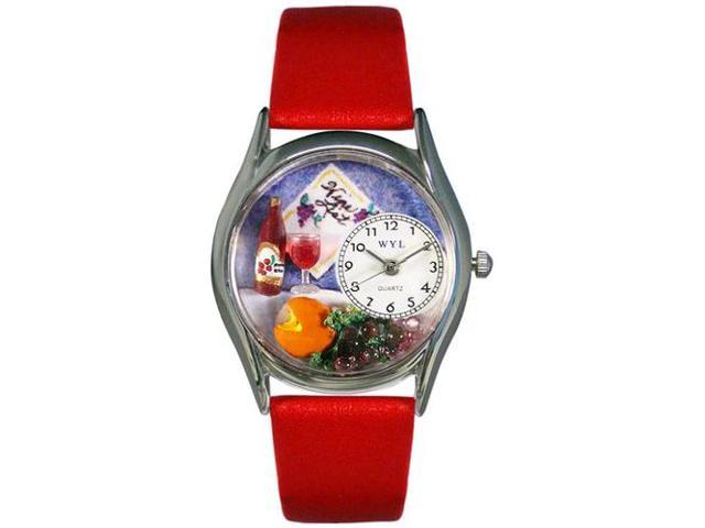 Wine & Cheese Red Leather And Silvertone Watch #S0310004