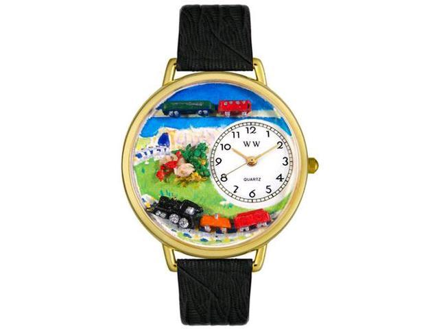 Trains Black Skin Leather And Goldtone Watch #G1610013