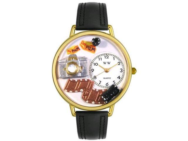 Photographer Black Padded Leather And Goldtone Watch #G0610012