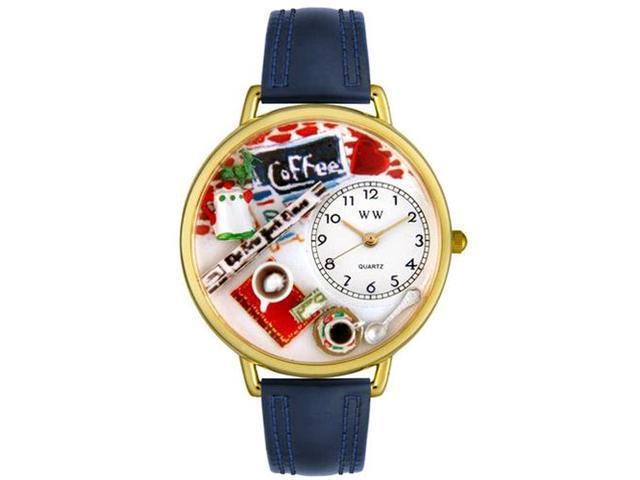 Coffee Lover Navy Blue Leather And Goldtone Watch #G0310006