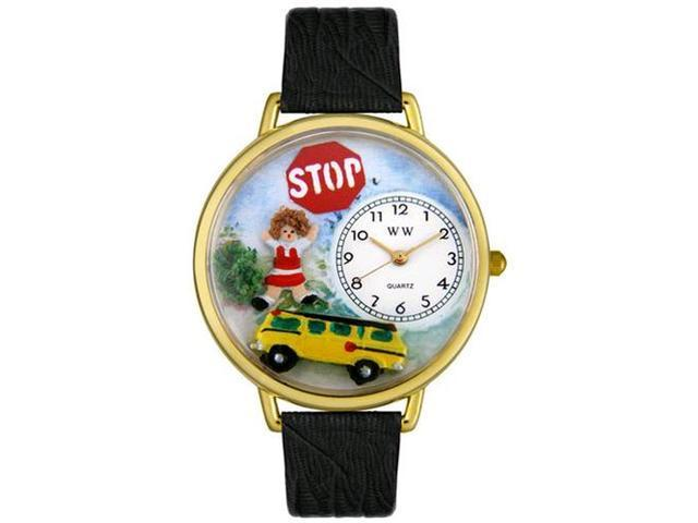 School Bus Driver Black Skin Leather And Goldtone Watch #G0610013
