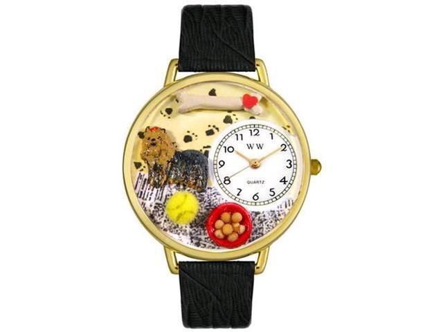 Yorkie Black Skin Leather And Goldtone Watch #G0130077