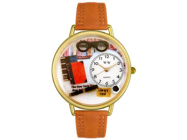 Book Lover Tan Leather And Goldtone Watch #G0460001