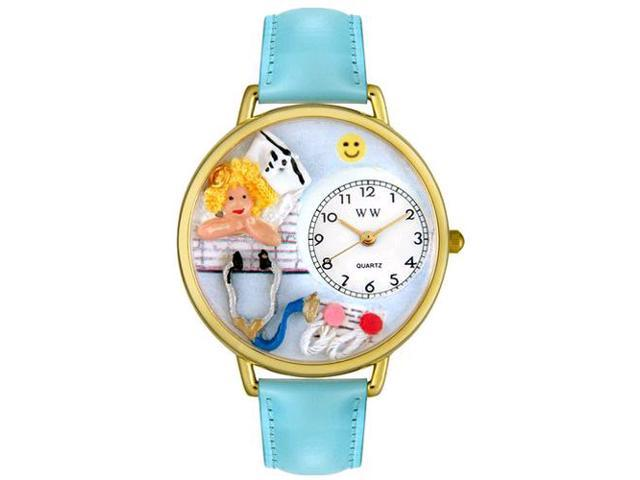 Nurse Angel Baby Blue Leather And Goldtone Watch #G0620030