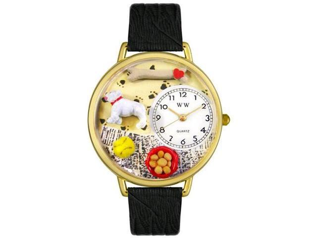 Bulldog Black Skin Leather And Goldtone Watch #G0130018