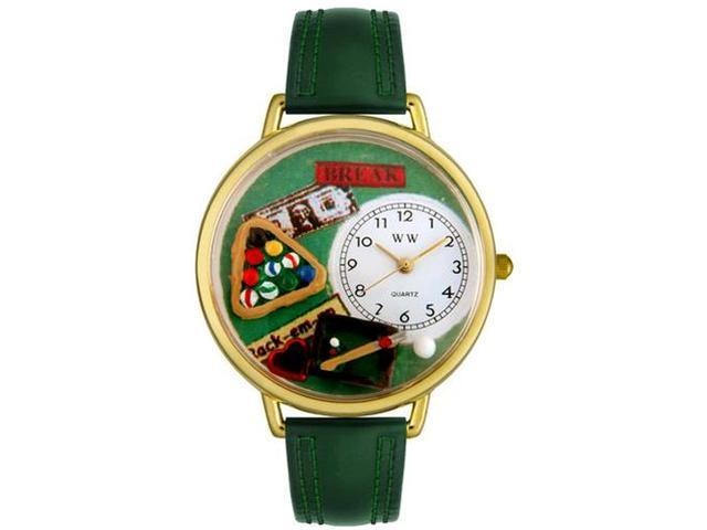 Billiards Hunter Green Leather And Goldtone Watch #G0430006