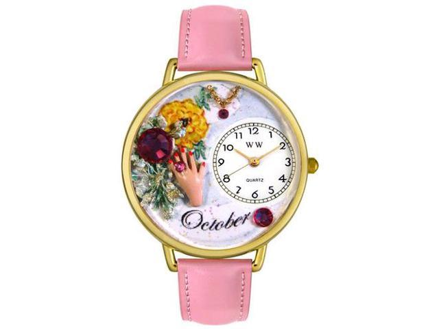 Birthstone: October Pink Leather And Goldtone Watch #G0910010