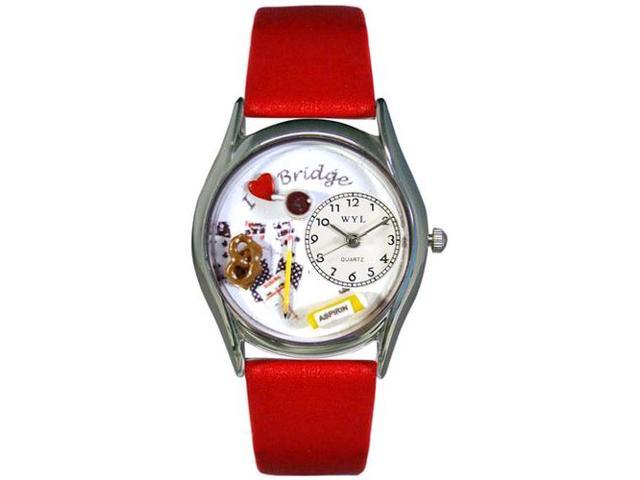 Bridge Red Leather And Silvertone Watch #S0430005