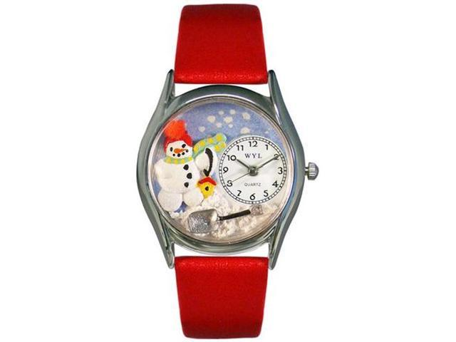 Christmas Snowman Red Leather And Silvertone Watch #S1220004
