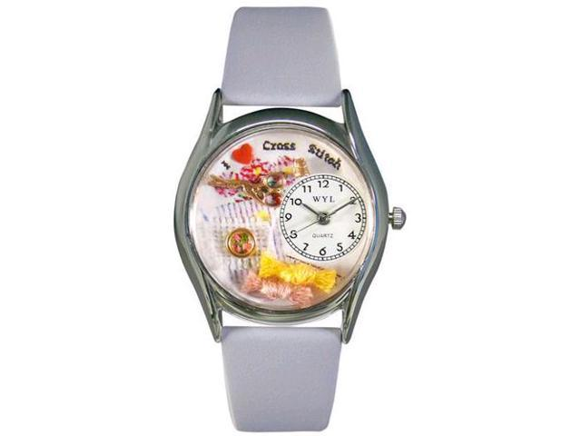 Cross Stitch Baby Blue Leather And Silvertone Watch #S0440009
