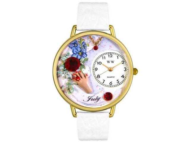 Birthstone: July White Leather And Goldtone Watch #G0910007