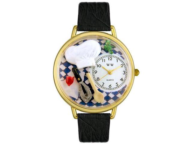 Chef Black Skin Leather And Goldtone Watch #G0310002