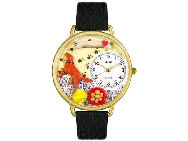 Irish Setter Black Skin Leather And Goldtone Watch #G0130047