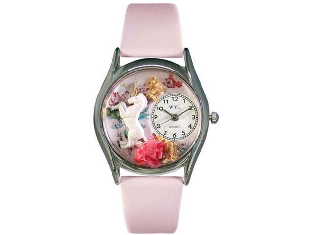 Unicorn Pink Leather And Silvertone Watch #S0420001
