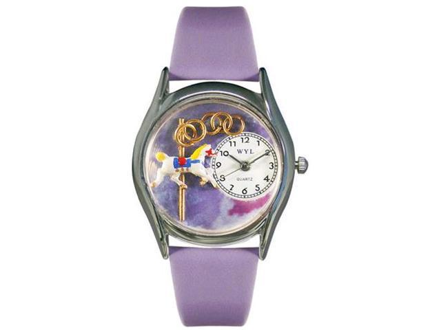 Carousel Lavender Leather And Silvertone Watch #S0420006