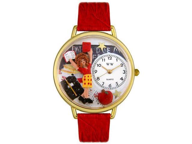 Kindergarten Teacher Red Leather And Goldtone Watch #G0640002