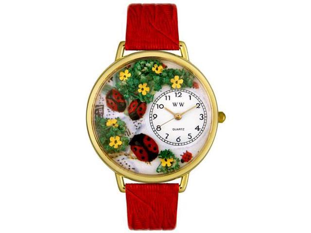 Ladybugs Red Leather And Goldtone Watch #G1210004