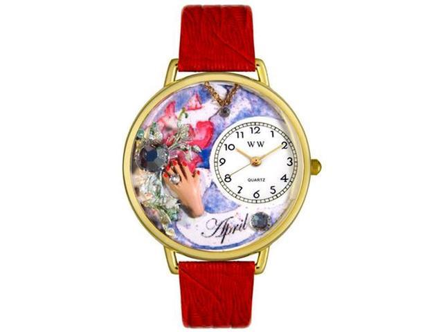 Birthstone: April Red Leather And Goldtone Watch #G0910004