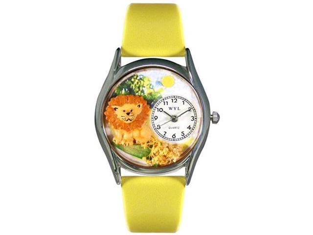 Lion Yellow Leather And Silvertone Watch #S0150003