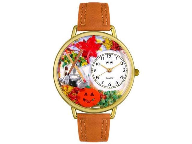 Autumn Leaves Tan Leather And Goldtone Watch #G1213001