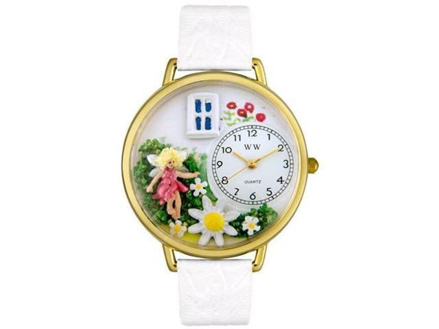 Daisy Fairy White Leather And Goldtone Watch #G1210012