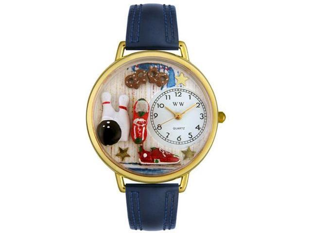 Bowling Navy Blue Leather And Goldtone Watch #G0820005