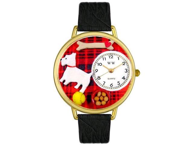 Westie Black Skin Leather And Goldtone Watch #G0130073