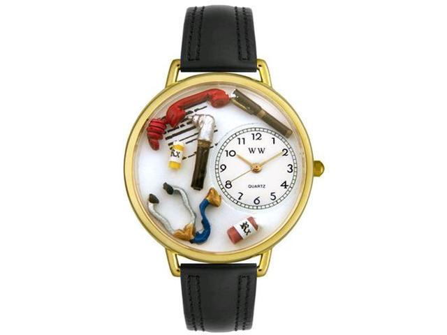 Doctor Black Padded Leather And Goldtone Watch #G0620018