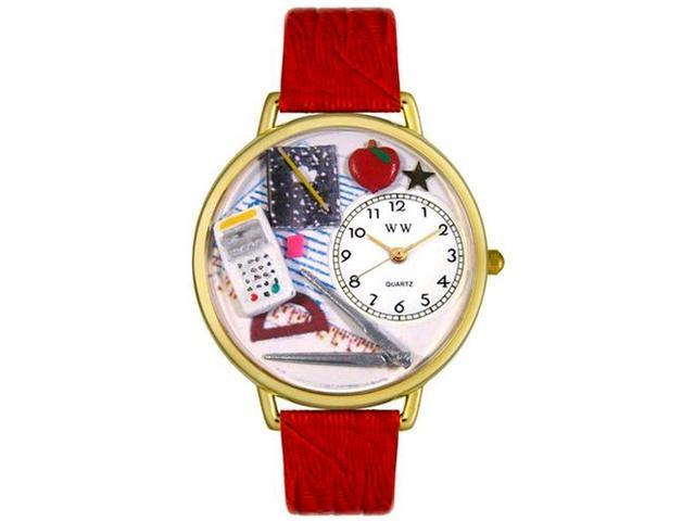Math Teacher Red Leather And Goldtone Watch #G0640007