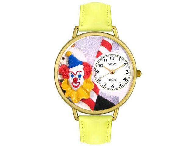 Clown Face Yellow Leather And Goldtone Watch #G0210002