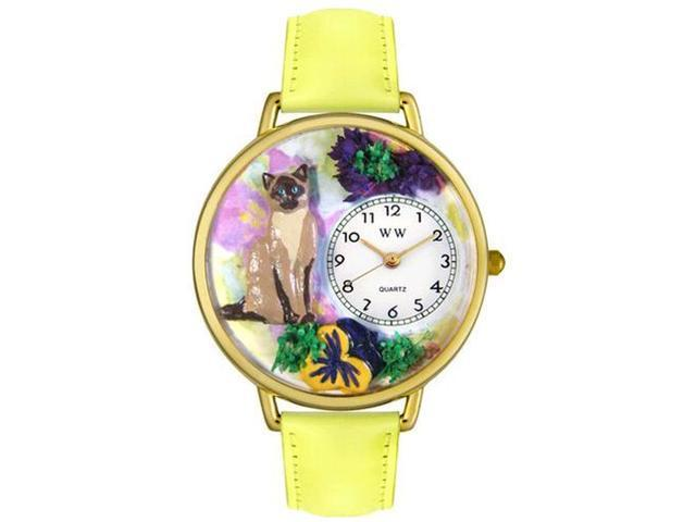 Siamese Cat Yellow Leather And Goldtone Watch #G0120007