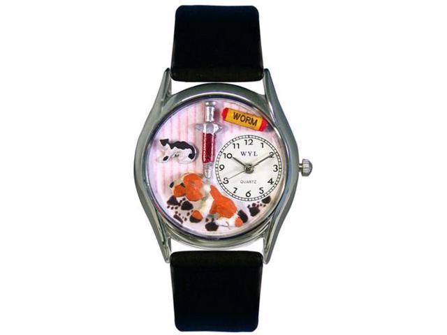 Veterinarian Black Leather And Silvertone Watch #S0130013