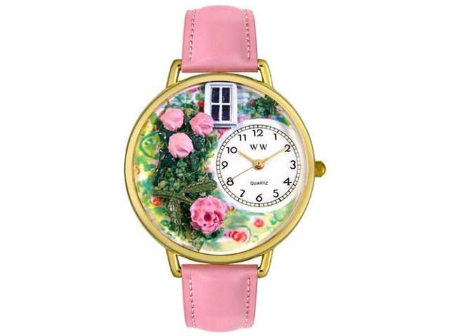 Roses Pink Leather And Goldtone Watch #G1210005