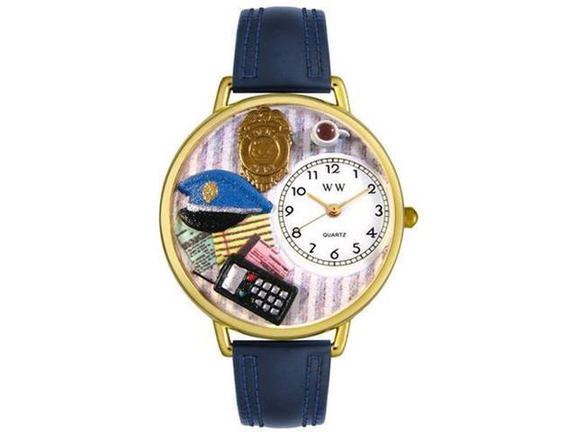 Police Officer Navy Blue Leather And Goldtone Watch #G0610016