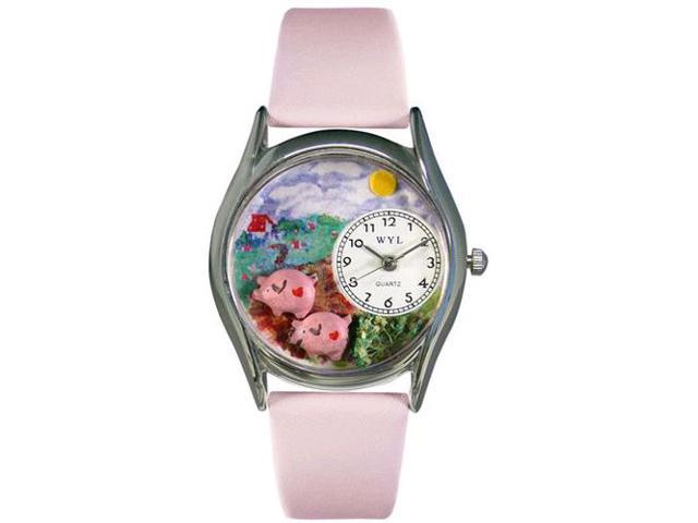 Pigs Pink Leather And Silvertone Watch #S0110002